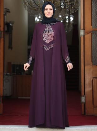 Purple - Unlined - Crew neck - Modest Plus Size Evening Dress - Amine Hüma