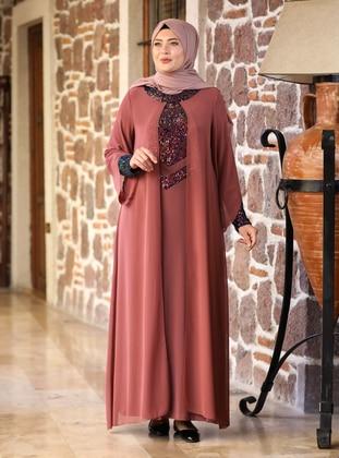Cinnamon - Unlined - Crew neck - Modest Plus Size Evening Dress