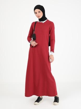 Maroon - Crew neck - Unlined - Cotton - Modest Dress