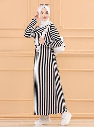 Black - Stripe - Crew neck - Unlined - Single Knit Fabric with Lycra - Modest Dress