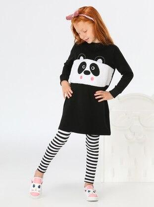 Stripe - Crew neck - Unlined - White - Black - Cotton - Girls` Suit