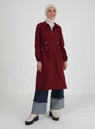 Maroon - Unlined - V neck Collar - Trench Coat