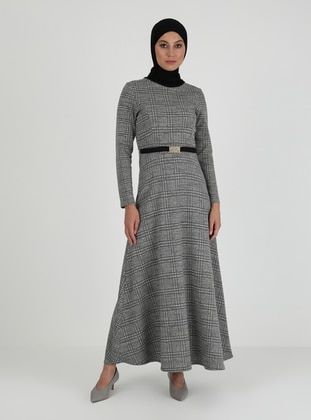 Gray - Multi - Crew neck - Unlined - Modest Dress