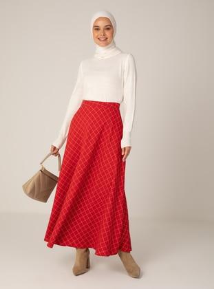 White - Red - Multi - Unlined - Skirt
