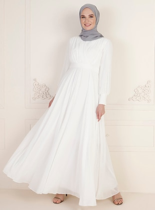 Ecru - Fully Lined - Double-Breasted - Modest Evening Dress
