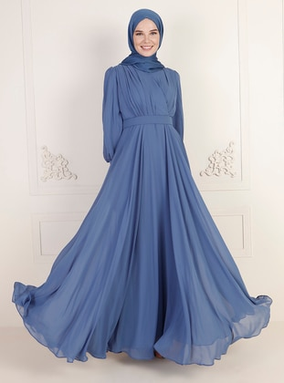 Indigo - Fully Lined - Double-Breasted - Modest Evening Dress