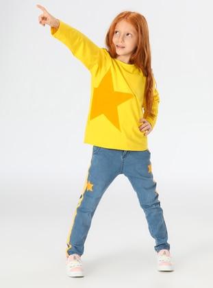 Multi - Crew neck - Unlined - Indigo - Yellow - Cotton - Girls` Suit