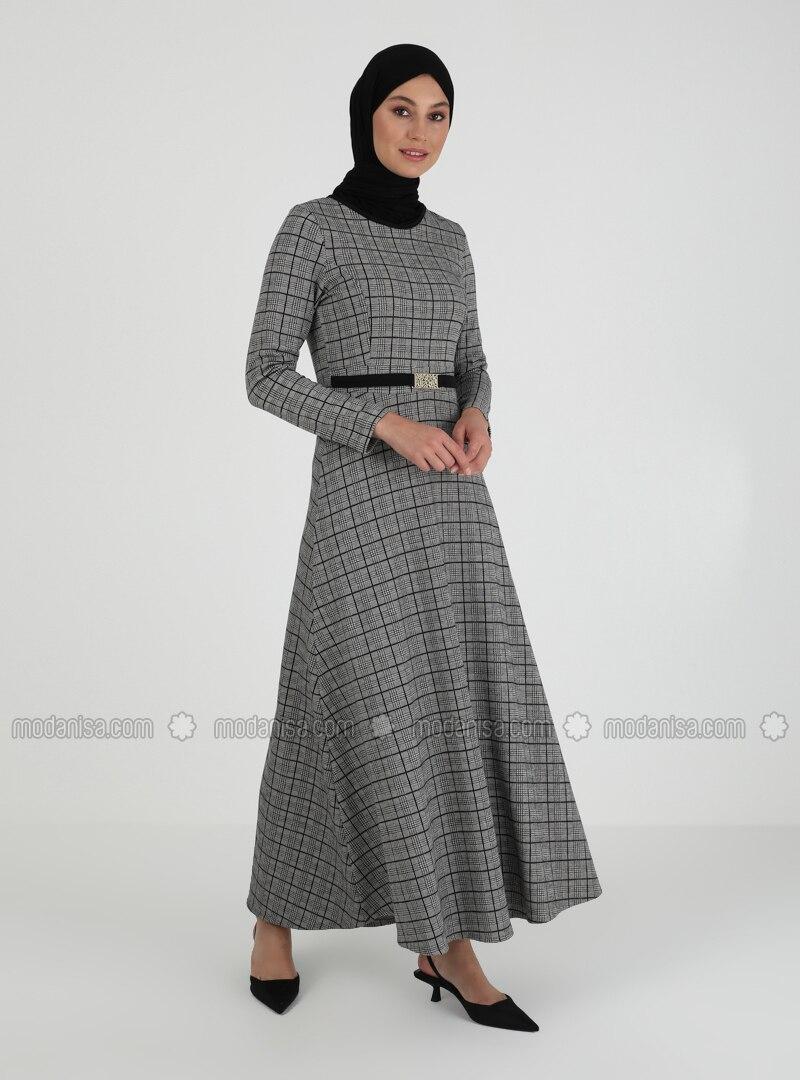 - Multi - Crew neck - Unlined - Modest Dress