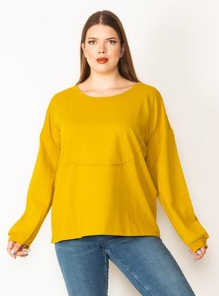 Yellow - Cotton - Plus Size Sweatshirts - Lavien
