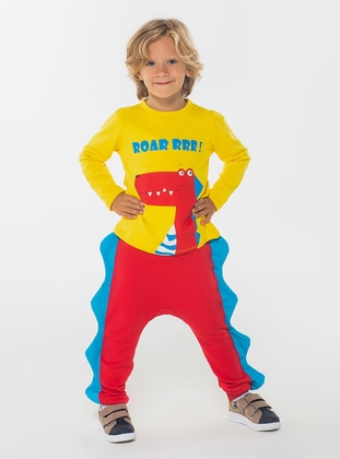 Multi - Crew neck - Unlined - Coral - Yellow - Boys` Suit