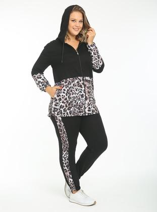 Black - Leopard - Plus Size Tracksuit Sets