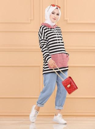 Red - Stripe - Cotton - Viscose - Tunic