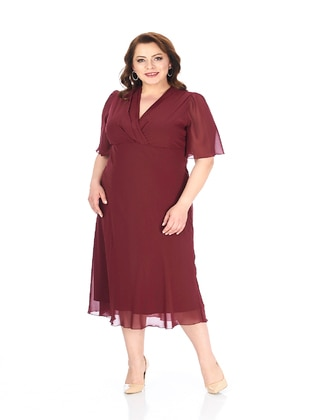 Maroon - Fully Lined - V neck Collar - Modest Plus Size Evening Dress