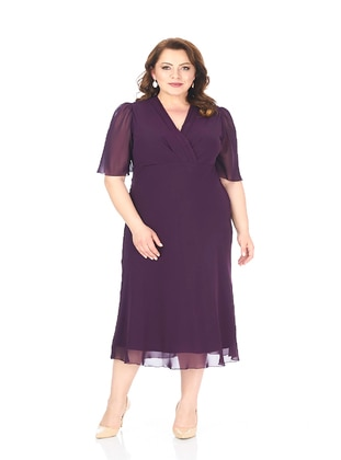 - Fully Lined - V neck Collar - Modest Plus Size Evening Dress