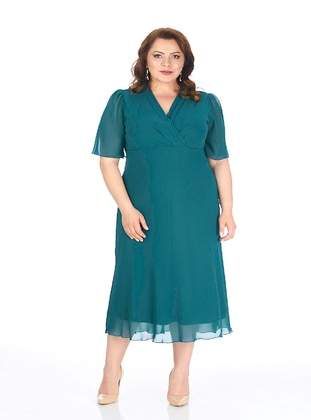 Petrol - Fully Lined - V neck Collar - Modest Plus Size Evening Dress