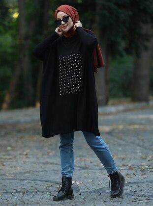 Black - Polo neck - Acrylic - Triko - Tunic