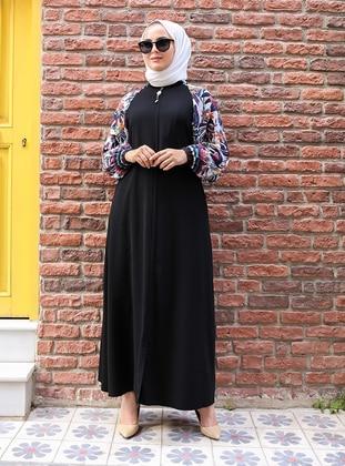 Black - Multi - Unlined - Crew neck - Plus Size Abaya