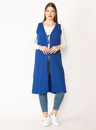 Saxe - Stripe - Unlined - Viscose - Plus Size Vest