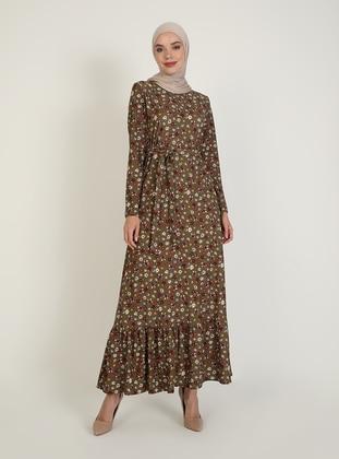 - Multi - Crew neck - Unlined - Viscose - Modest Dress