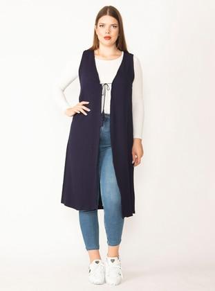 Navy Blue - Unlined - Viscose - Plus Size Vest