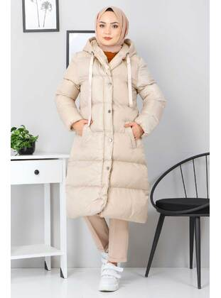 Beige - Fully Lined - Crew neck - Puffer Jackets