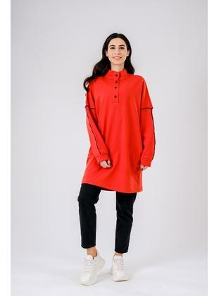 Crew neck - Multi - Cotton - Polo neck - Terra Cotta - Sweat-shirt