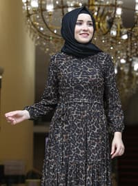 Brown - Leopard - Fully Lined - Crew neck - Modest Evening Dress