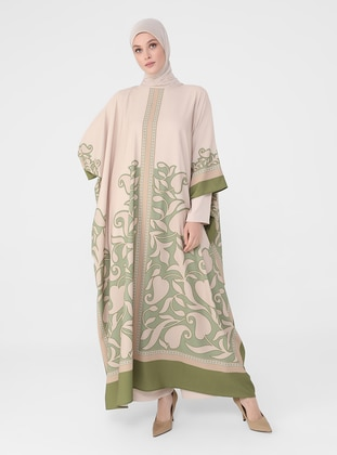 Beige - Green - Evening Abaya