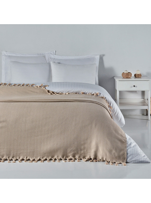 Beige - Cotton - Bed Spread