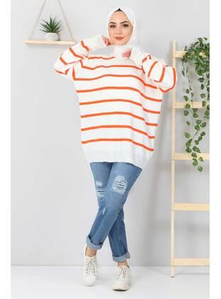 Orange - Crew neck - Unlined - Knit Tunics