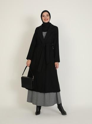 Black - Fully Lined - V neck Collar - Coat