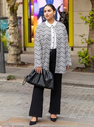 Ecru - Black - Ethnic - Unlined - Plus Size Jacket - Alia