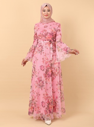 Dusty Rose - Floral - Fully Lined - Crew neck - Modest Evening Dress