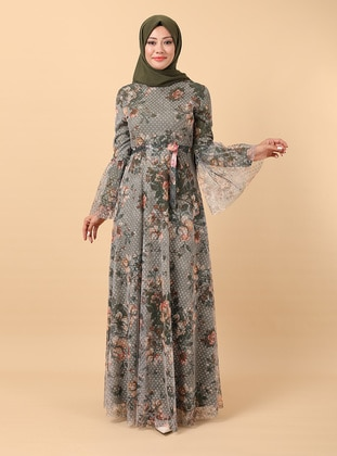 - Floral - Fully Lined - Crew neck - Modest Evening Dress
