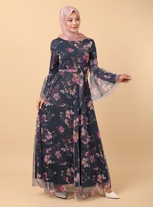 Indigo - Floral - Fully Lined - Crew neck - Modest Evening Dress