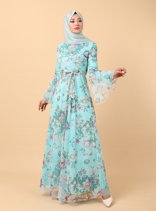 Mint - Floral - Fully Lined - Crew neck - Modest Evening Dress