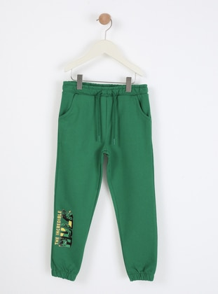 Multi - Crew neck - Unlined - Green - Boys` Pants
