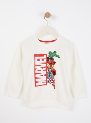 Multi - Crew neck - Unlined - White - Boys` Sweatshirt