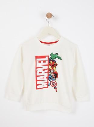 Multi - Crew neck - Unlined - White - Boys` Sweatshirt - Wonder Kids