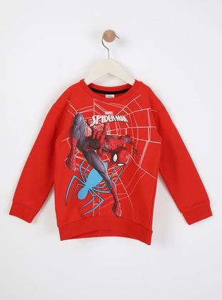 Multi - Crew neck - Unlined - Red - Boys` Sweatshirt - Wonder Kids