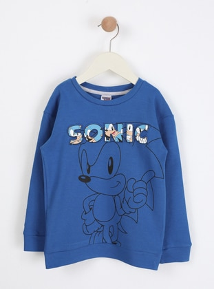 Multi - Crew neck - Unlined - Blue - Boys` Sweatshirt - Wonder Kids