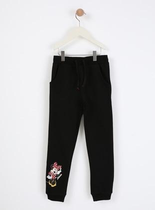 Multi - Crew neck - Unlined - Black - Girls` Pants