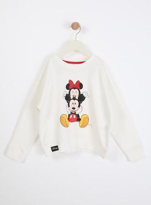 Multi - Crew neck - Unlined - White - Girls` Sweatshirt - Wonder Kids
