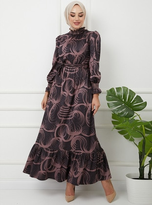 Lilac - Multi - Crew neck - Fully Lined - Modest Dress
