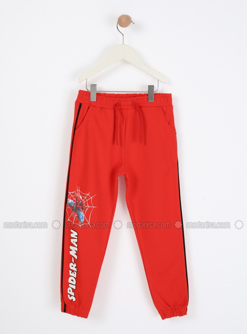 Multi - Crew neck - Unlined - Red - Boys` Pants