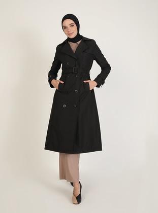 Black - Fully Lined - V neck Collar - Trench Coat - Jamila