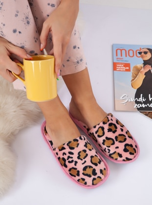 Leopard - Sandal - Leopard - Pink - Home Shoes