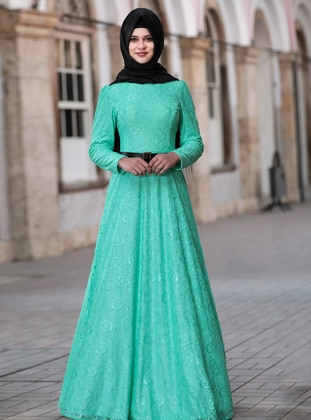 Mint - Fully Lined - Crew neck - Modest Evening Dress