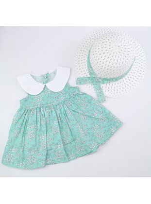 Floral - Round Collar - Unlined - Mint - Cotton - Baby Dress