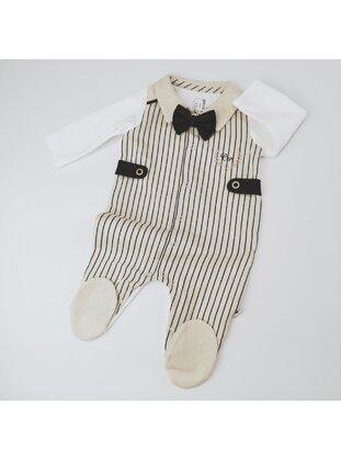 Stripe - Button Collar - Unlined - Beige - Cotton - Baby Sleepsuit